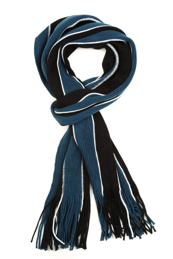 Sakkas Rhyland Striped Color Block Knitted Winter Scarf With Fringe#Color_Black/Blue