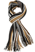 Sakkas Rhyland Striped Color Block Knitted Winter Scarf With Fringe#Color_Tan/Black