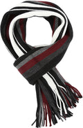 Sakkas Rhyland Striped Color Block Knitted Winter Scarf With Fringe#Color_White Stripe