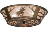 "22""W Northwoods Moose On The Loose Wildlife Flushmount"