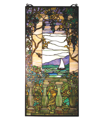"19""W X 40""H Tiffany Wisteria Left Column Floral Stained Glass Window"