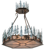 "37""W Wildlife At Pine Lake Rustic Lodge Inverted Pendant"