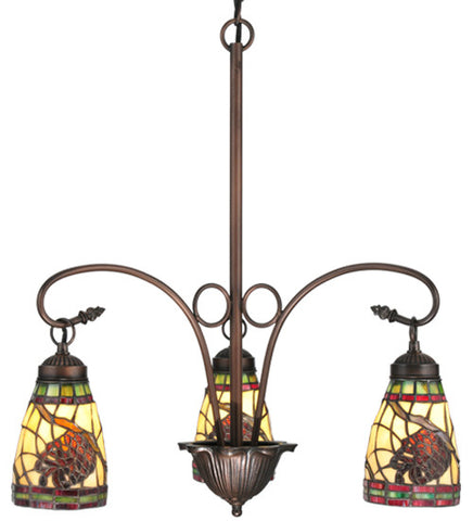 "23""W Pinecone Dome 3 Lt Tiffany Rustic Lodge Chandelier"