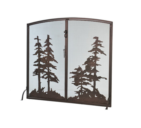"47""W X 43""H Tall Pines Operable Door Arched Fireplace Screen"