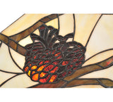 "24""W Pinecone Mission Stained Glass Lodge Pendant"