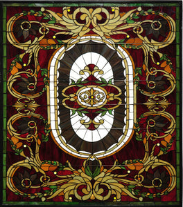 "39""W X 48""H Regal Splendor Victorian Stained Glass Window"