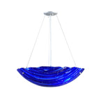 "24""W Metro Fusion Azul Fused Glass Contemporary Inverted Pendant"
