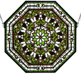 "25""W X 25""H Front Hall Floral Stained Glass Window"