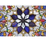 "35""W X 35""H Front Hall Floral Stained Glass Window"