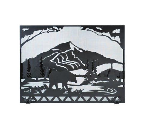 "49""W X 36""H Bear Creek Wildlife Metal Fireplace Screen"