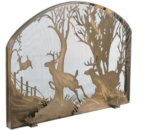 "39.5""W X 30""H Deer On The Loose Arched Metal Fireplace Screen"