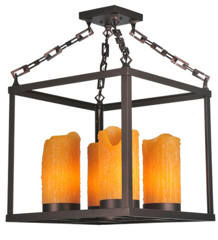 "16""Sq Box 4 Lt Rustic Lodge Chandelier"