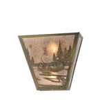 "13""W Fly Fishing Creek W/Dog Rustic Lodge Wall Sconce"