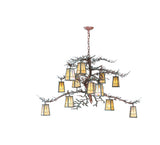 "52""W Pine Branch Valley View 12 Lt Rustic Lodge Chandelier"