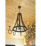 "43""W Barrel Stave Madera 8 Lt Rustic Gothic Chandelier-Ships Free"