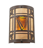 "9""W Celtic Harp Arts & Crafts Wall Sconce"
