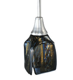 "4""Sq Metro Fusion Cielo Di Notte Draped Fused Glass Modern Pendant"