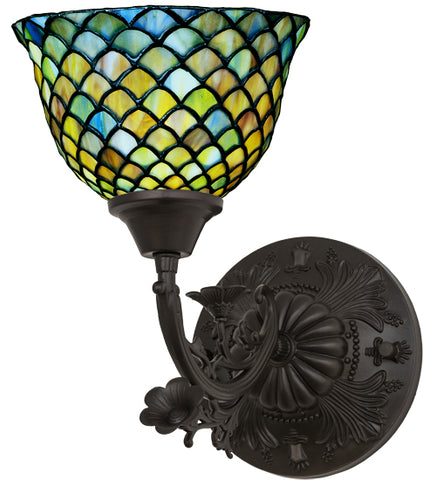"8""W Tiffany Fishscale Victorian Stained Glass Wall Sconce"