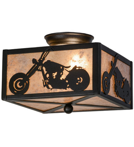 "10""Sq Motorcycle Rustic Lodge Flushmount"
