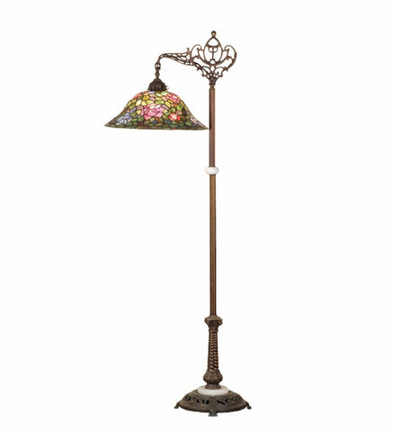 "59""H Tiffany Rosebush Bridge Arm Floor Lamp"