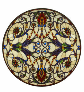 "42""W X 42""H Spiral Victorian Medallion Stained Glass Window"