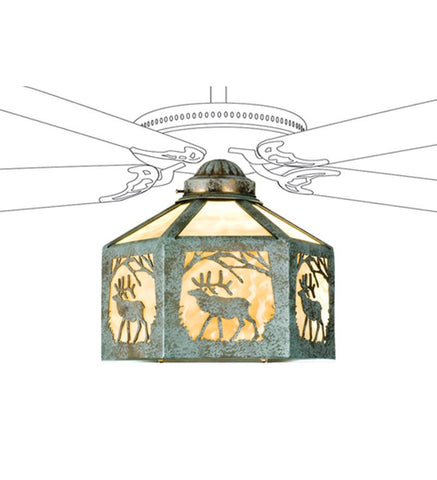 "13""W Lone Elk Fan Light Shade"