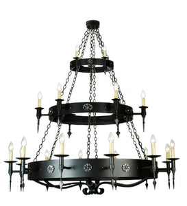 "72""W Warwick 21 Lt Three Tier Rustic Gothic Chandelier"