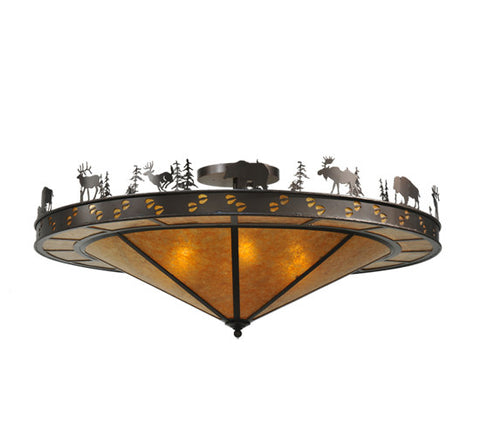 "48""W Wildlife Rustic Lodge Flushmount"