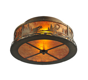 "16""W Fly Fishing Creek Rustic Lodge Flushmount"