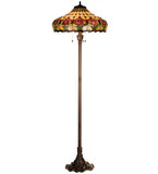 "63.5"" Tiffany Colonial Tulip Floral Stained Glass Floor Lamp"