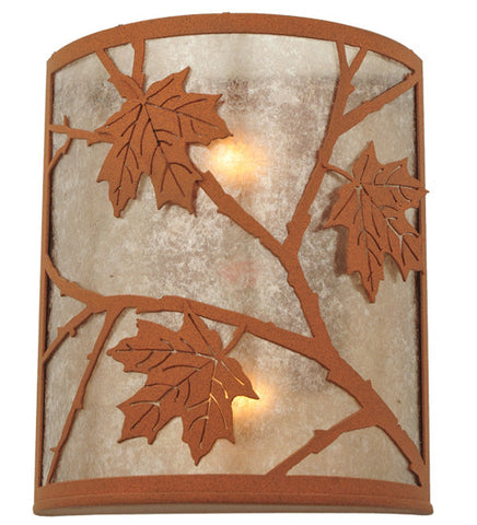 "10""W Maple Leaf Rustic Lodge Wall Sconce"