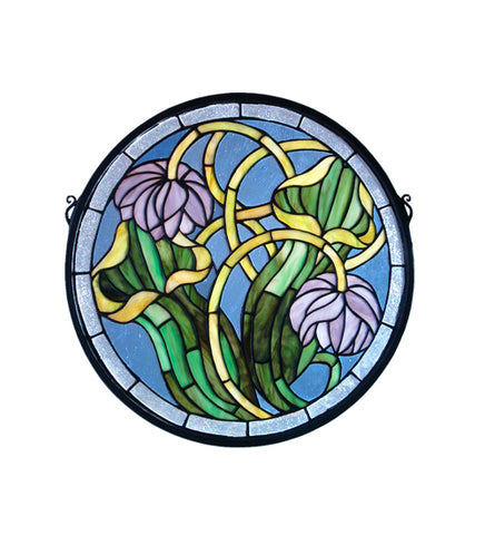 "17""W X 17""H Pitcher Plant Medallion Floral Stained Glass Window"