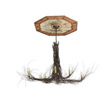 "48""W Twigs 6 Lt W/Ceiling Medallion Rustic Lodge Chandelier"