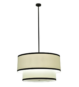 "36""W Cilindro Cream 2 Tier Textrene Contemporary Pendant"