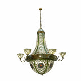 "72""W Tiffany Grand Tulip Medallion 6 Arm Floral Chandelier"