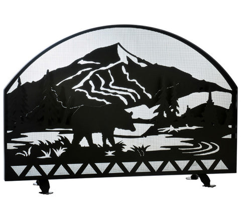 "48""W X 32""H Bear Creek Arched Fireplace Screen"