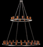"72""W Loxley 36 Lt Two Tier Rustic Lodge Chandelier"