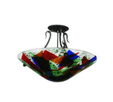 "18""W Metro Fusion Colorito Fused Glass Semi-Flushmount"