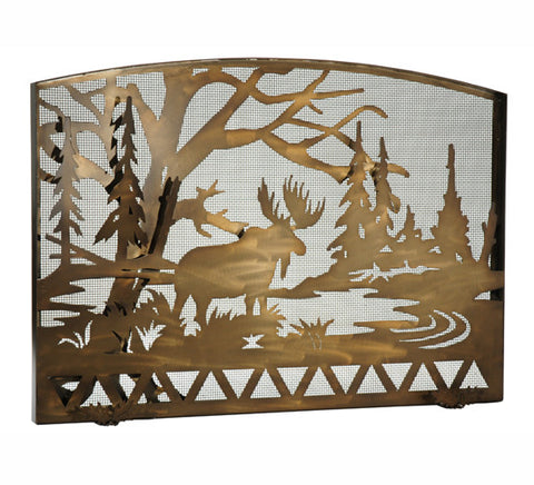 "60""W X 40""H Moose Creek Arched Metal Fireplace Screen"