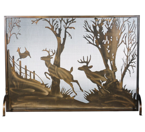 "44""W X 31.5""H Deer On The Loose Fireplace Screen"