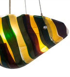 "18""W Metro Fusion Penna Di Pavone Fused Glass Inverted Pendant 