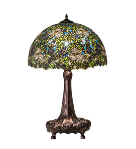 "31""H Trillium & Violet Stained Glass Table Lamp"