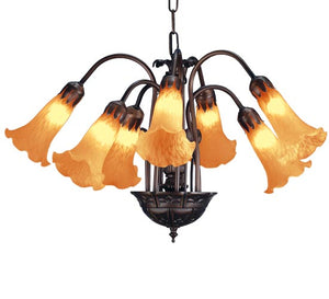"20""W Tiffany Amber Pond Lily 7 Lt Victorian Chandelier 