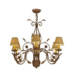 "31""W Bordeaux 6 Lt Victorian Fabric Chandelier"