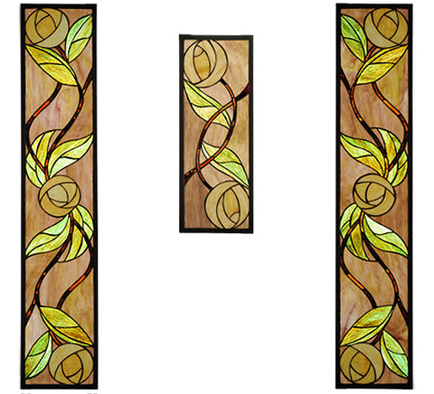 "7.125""W X 35.125""H Mackintosh 3 Pieces Rose Stained Glass Window"