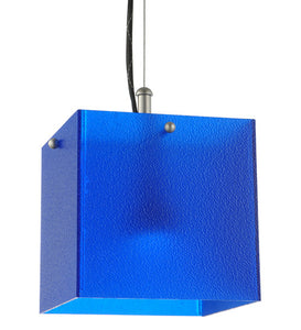 "6.75""Sq Quadrum Blue LED Contemporary Mini Pendant"
