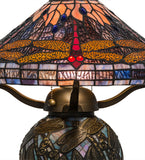"16""H Tiffany Hanginghead Dragonfly Cone Table Lamp"