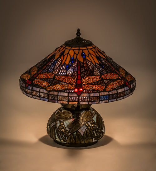 16 H Tiffany Hanginghead Dragonfly Cone Table Lamp Ships Free Smashing Stained Glass Lighting