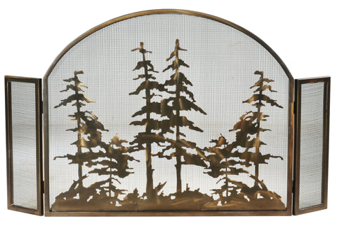 "50""W X 30""H Tall Pines Arched Metal Fireplace Screen"