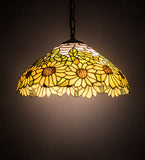 "16""W Wild Sunflower Tiffany Floral Pendant 